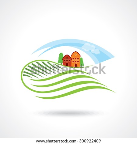 House Logo design vector template. Organic Natural Farm Logotype. Eco green nature village concept icon. - stock vector