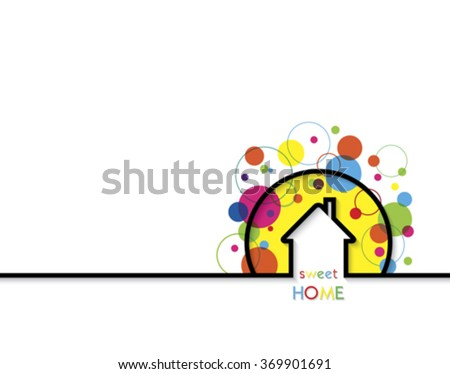 House logo design with place for text. Home Sweet Home Vector Illustration on white background - stock vector