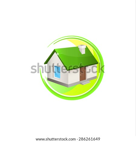 House logo. House with the green roof. Logo elements. Trendy icon for business. Company logo. Vector illustration EPS 10. - stock vector