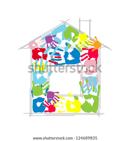 House made from family's handprints. Vector concept. - stock vector