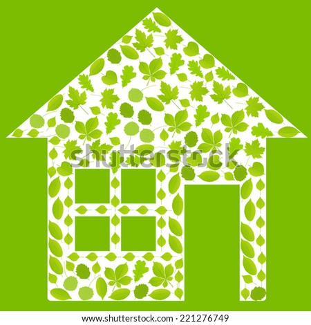 House made with leaves vector ecology background concept