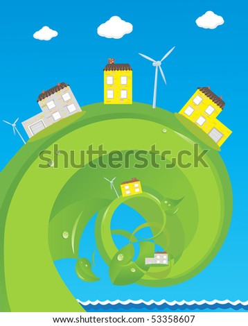 House nature ecology architecture on abstract background