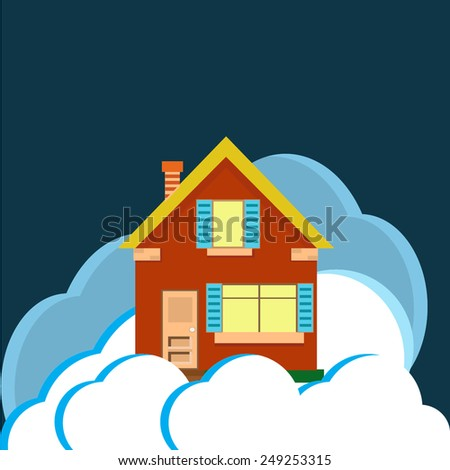 house night clouds  - stock vector