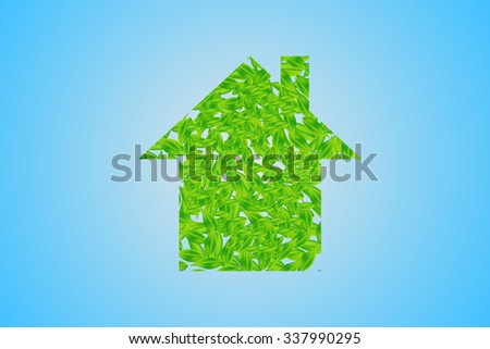 House of green leaves is standing in the middle of the image. All is on the blue gradient background with the light in the center. - stock vector