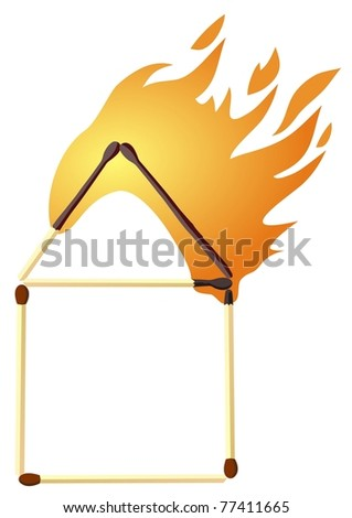 house of matches on fire - stock vector