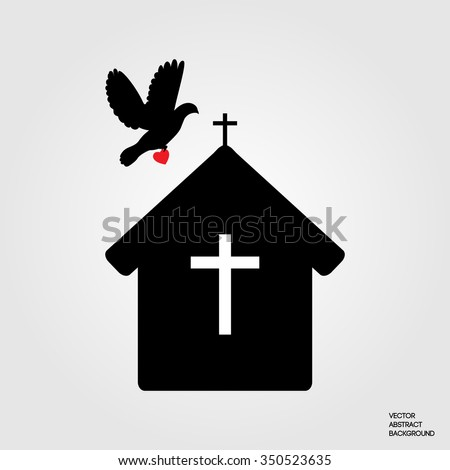 House of Prayer Christians. The Christian faith. The symbol of Christianity. Biblical history. Pigeon hopes. Pigeon brings love and belief - stock vector