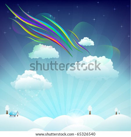 house on snowy hills in sunny winter day with clouds and aurora - stock vector