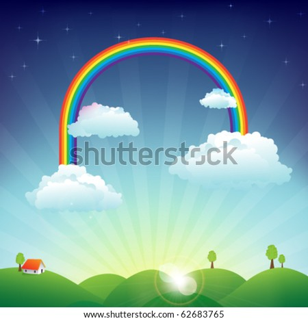 house on the hills in sunny day with clouds and a rainbow - stock vector
