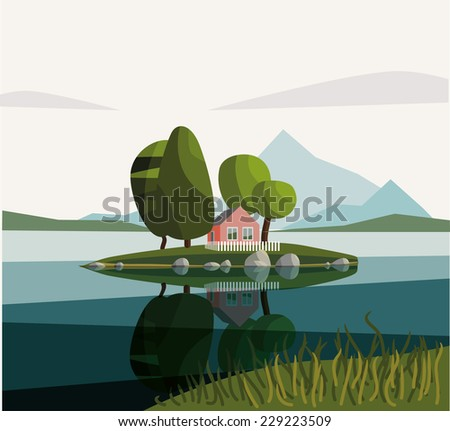 House on the lake. Day. Vector illustration. - stock vector