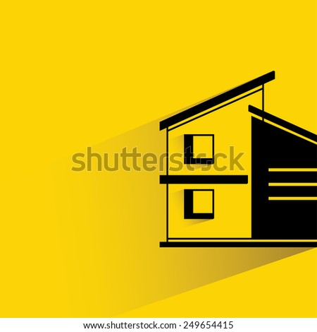 house on yellow background - stock vector