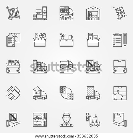 House or office moving icons - vector set of moving services symbols in thin line style. Linear transporting and delivery signs - stock vector