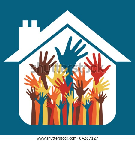 House party design with happy hands. - stock vector