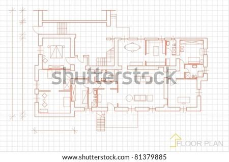 House plan blueprint vector - stock vector