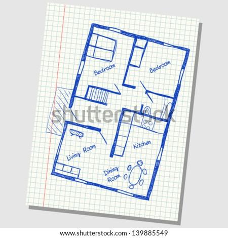 House plan doodle - stock vector