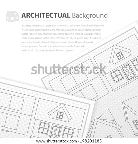 House plan drawing - stock vector
