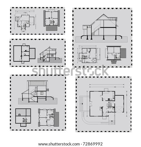 house plan on post mark - stock vector
