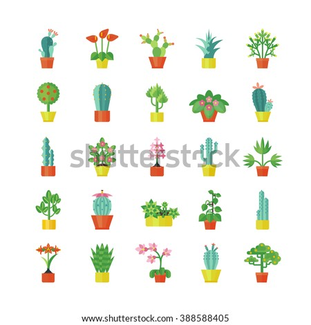 House plants and flowers for interior decoration  flat icons collection with aloe and geranium abstract isolated vector illustration - stock vector