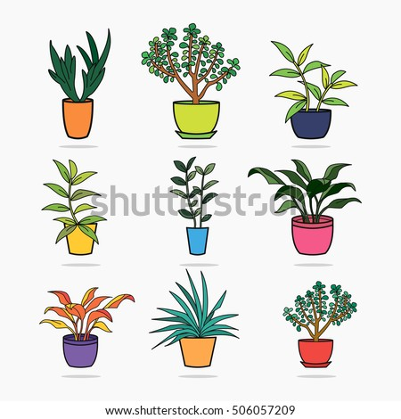 House plants and flowers in pots isolated on black background. Home garden silhouette. Colored doodle art. Concept design in flat style. Vector illustration.