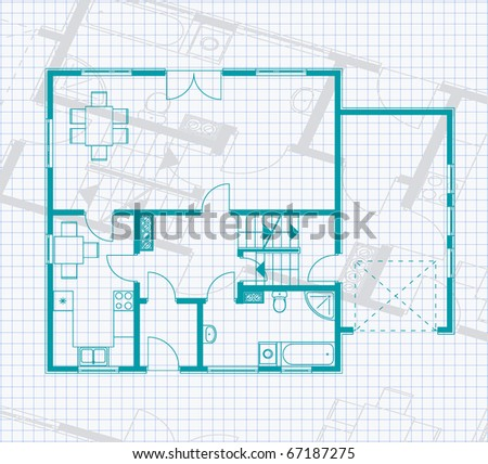 house project in green color on the page of notebook background - stock vector