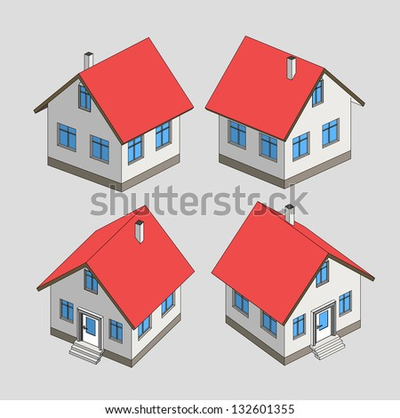 house project vector sketch isometric view illustration - stock vector