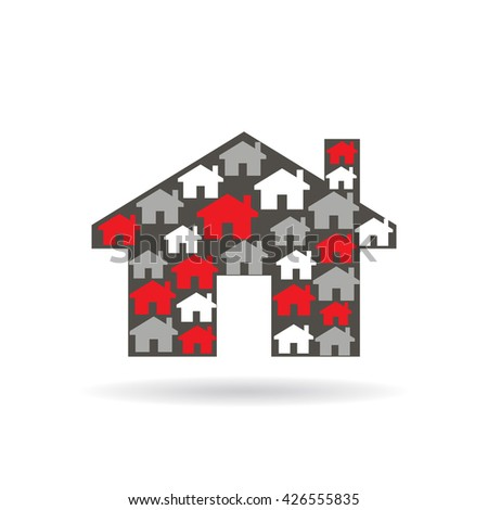 House properties logo. Vector graphic illustration design