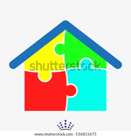 house, puzzle, icon, vector illustration EPS 10