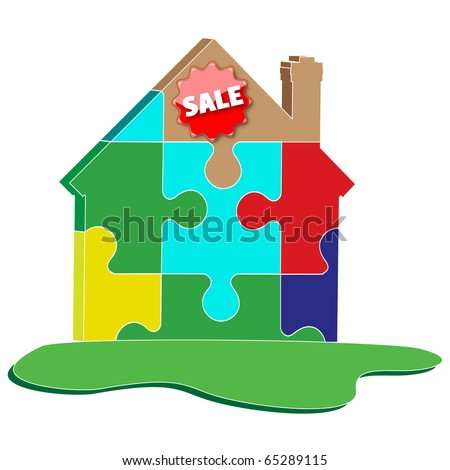 house puzzles advertising sale.Vector