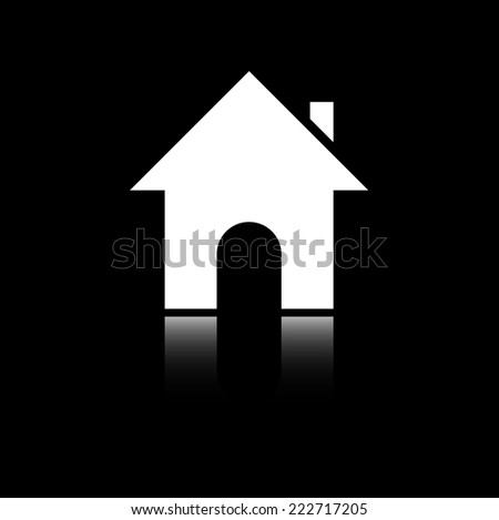 House. Reflecting mirror shadow. Black and white icon. Vector illustration. Series of pictures. - stock vector
