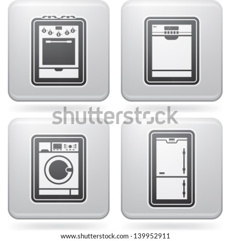 House related items (objects, tools), from left to right, top to bottom:   Gas stove, Dishwasher, Washing machine, Fridge. - stock vector