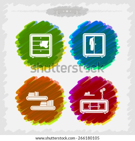 House related Objects from left to right - Closet, Wardrobe, Shelf, Rack.  - stock vector