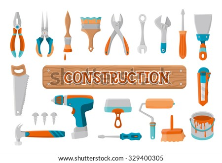 House remodel, construction, building, instruments, tools for building, collection of house repair icons,  design elements, vector illustration - stock vector