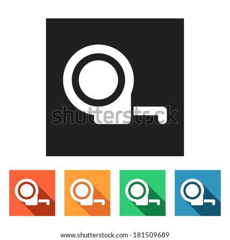 House remodel: set of flat colored simple web icons (tape-measure, tape-line, tools, hardware, manufacture), vector illustration - stock vector