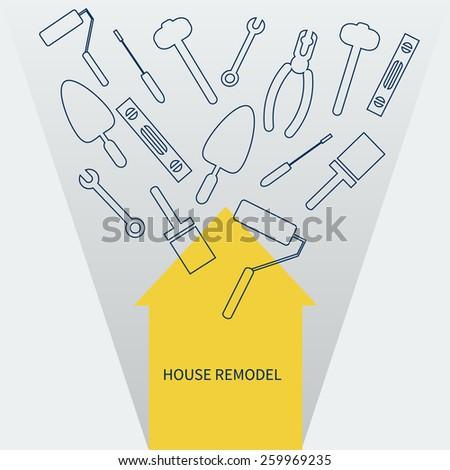 house remodel vector banner - stock vector