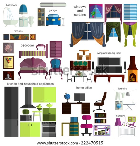House remodeling infographic. Set flat interior elements for creating your infographics. Vector illustration - stock vector