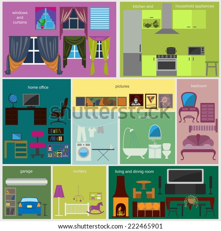 House remodeling infographic. Set interior elements for creating your infographics. Vector illustration