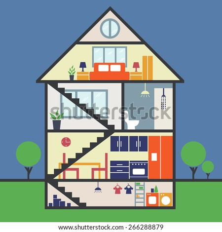 House remodeling infographic.Vector - stock vector