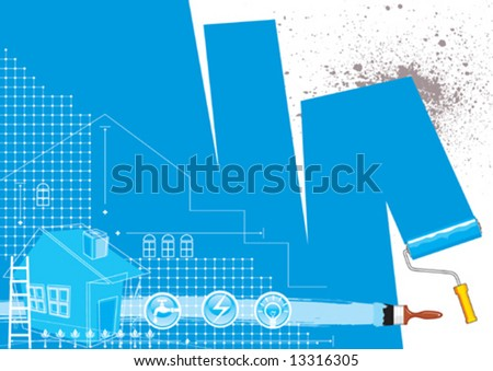 House renovation design, vector illustration with layers file - stock vector