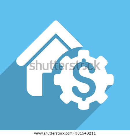House Rent Options long shadow vector icon. Style is a white flat symbol on a light-blue square background. - stock vector