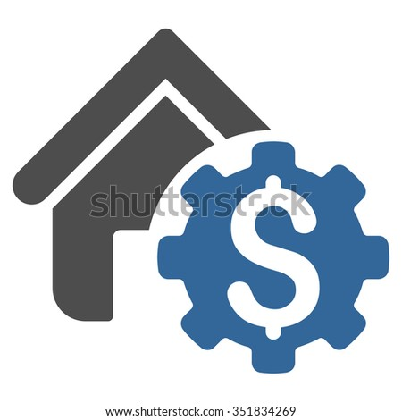 House Rent Options vector icon. Style is bicolor flat symbol, cobalt and gray colors, rounded angles, white background. - stock vector
