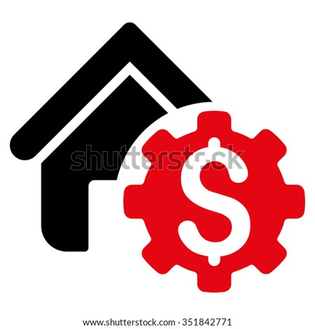 House Rent Options vector icon. Style is bicolor flat symbol, intensive red and black colors, rounded angles, white background. - stock vector