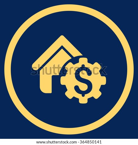 House Rent Options vector icon. Style is flat circled symbol, yellow color, rounded angles, blue background. - stock vector