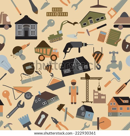 House repair and construction background. Seamless. Vector illustration - stock vector