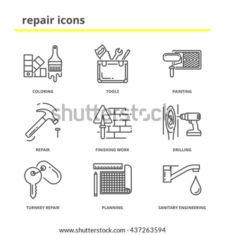house repair construction vector icons set stock vector