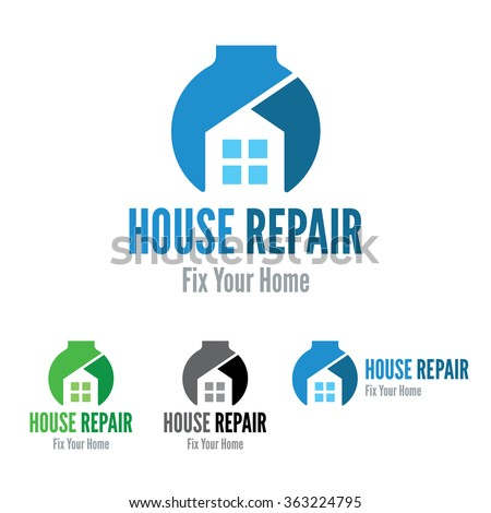 House repair company logo template. Fix your home slogan. Wrench & building concept. - stock vector