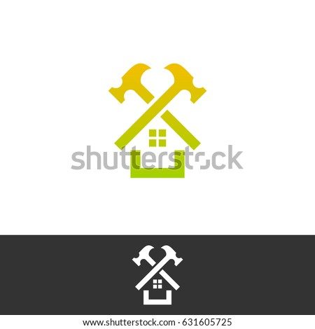House Repair Logo. Roof Repair Logo. Repairs House Sign. Home Improvement  Logo.