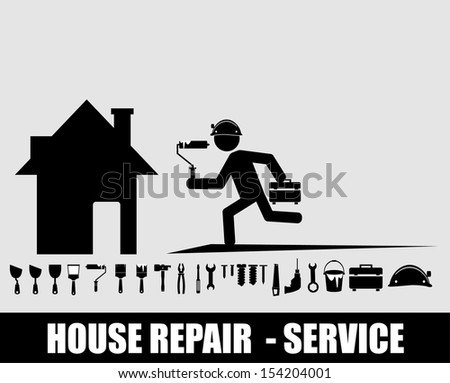 House repair service. - stock vector