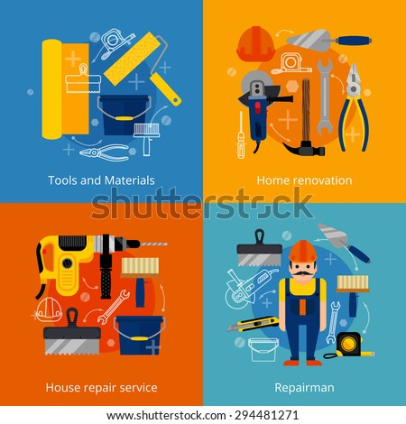 House repair service and home renovation flat icons set with power and hand tools materials and repairman isolated vector illustration - stock vector