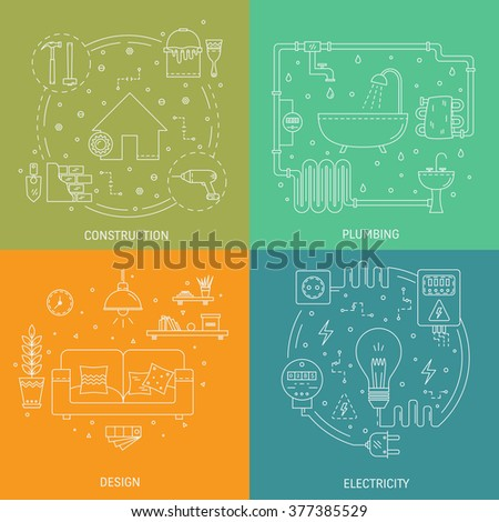 House repair vector flat line illustration set of construction, electricity, plumbing, interior design,  repairing home apartment .4  Modern design vector concept, isolated on colorful  background. - stock vector