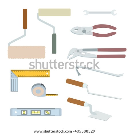House repairs tools. Crowbar, groove joint pliers, joint filler, open-ended spanner, paint roller, setsquare, slip joint pliers, spirit level, square trowel, tape measure, wallpaper roller, colorful. - stock vector