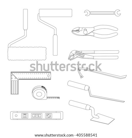 House repairs tools. Crowbar, groove joint pliers, joint filler, open-ended spanner, paint roller, setsquare, slip joint pliers, spirit level, square trowel, tape measure, wallpaper roller, outline. - stock vector